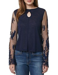 Buffalo David Bitton Laced Flower Mesh And Embroidered Top Ink