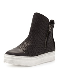 Woven Leather Skate Boot Black Nero Henry Beguelin