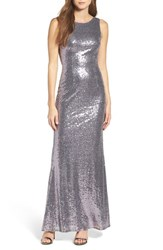 Lulus Women's Sleeveless Sequin Drape Back Gown Shiny Lilac