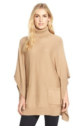 Women's Michael Michael Kors Turtleneck Pocket Poncho Dark Camel