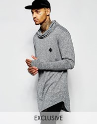 Granted Longline Longsleeve T Shirt With Cowl Neck Grey