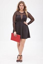 Forever 21 Plus Size Mesh Paneled Fit And Flare Dress