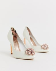 Ted Baker Ivory Stain Embellished Heeled Court Shoes White
