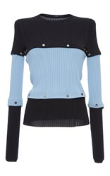 Versace Color Block Knit Long Sleeve Tee Blue