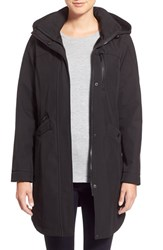 Kristen Blake Petite Women's Crossdye Hooded Soft Shell Jacket Regular And Petite Black