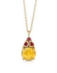 Mia And Beverly Citrine Quartz And Red Sapphires 18K Rose Gold Pendant Necklace Yellow