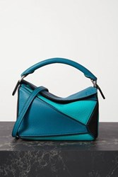 Loewe Puzzle Mini Color Block Textured Leather Shoulder Bag Blue