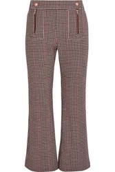 See By Chloe Houndstooth Wool Blend Cropped Flared Pants Burgundy