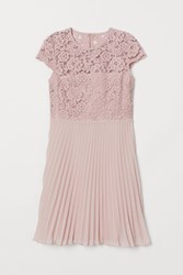 Handm H M Pleated Lace Dress Pink
