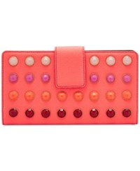 Fossil Beaded Travel Wallet Neon Coral