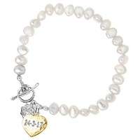 Dower And Hall Engravable Heart Pearl Bracelet Gold Multi