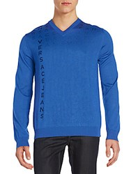Versace Letter Printed Pullover Blue