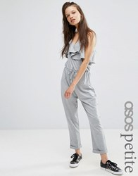 Asos Petite Jersey Jumpsuit With Peg Leg And Ruffle Detail Grey