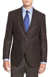Men's Big And Tall David Donahue 'Connor' Classic Fit Plaid Wool And Cashmere Sport Coat Brown