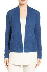 Eileen Fisher Women's Slubbed Organic Linen And Cotton Cardigan Denim