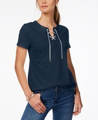 Charter Club Lace Up T Shirt Created For Macy's Intrepid Blue