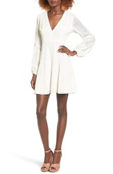 Astr Women's Embroidered Fit And Flare Dress Ivory