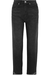 Sandro Woman Theatre Frayed High Rise Straight Leg Jeans Black