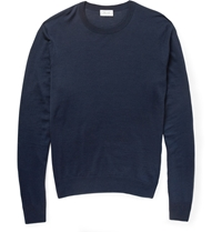 Faconnable Fine Knit Wool Sweater Blue