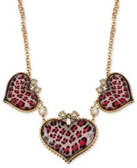 Betsey Johnson Gold Tone Pink Leopard Heart Frontal Necklace