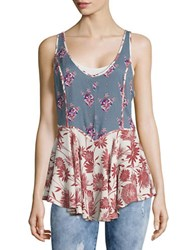 Free People Floral Print Peplum Tank Top Blue