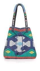 Tory Burch Large Woven Drawstring Tote Navy Sea