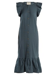 Cecilie Copenhagen Jehro Scarf Jacquard Cotton Dress Mid Blue