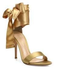 Gianvito Rossi Gala Satin Ankle Wrap Sandals Black Gold
