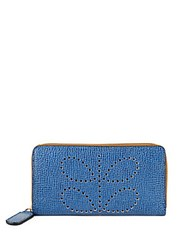Orla Kiely Textured Leather Continental Wallet Blue