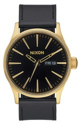 Nixon The Sentry Leather Strap Watch 42Mm