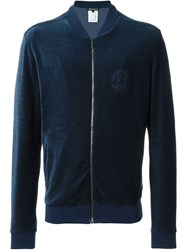 Versace Zipped Up Velvet Cardigan Blue