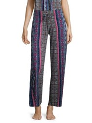 In Bloom Printed Drawstring Pants Black Burgundy