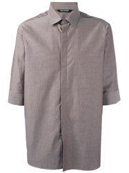 Neil Barrett Border Short Sleeve Shirt Brown