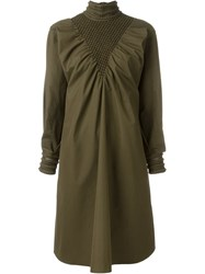 Fendi Puffed Sleeve Dress Green