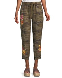 Johnny Was Vella Embroidered Linen Jogger Pants Plus Size Camo