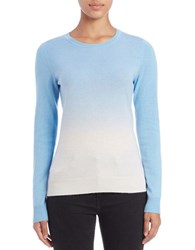 Lord And Taylor Petite Dip Dyed Cashmere Crewneck Blue Coast