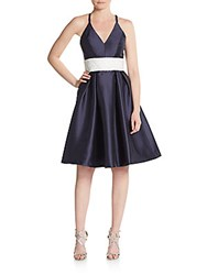 Carmen Marc Valvo Infusion Shantung Fit And Flare Dress Navy White