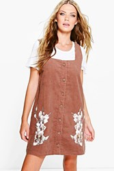 Boohoo Corduroy Applique Pinafore Dress Mocha