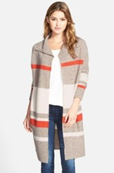 Caslon Stripe Sweater Coat Petite Brown