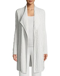 Neiman Marcus Cashmere Cable Knit Cardigan Moonlight Grey