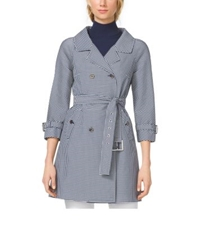 Michael Kors Gingham Techno Twill Trenchcoat Indigo White