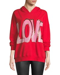 Alice Olivia Vernie Love Embellished Pullover Hoodie Red