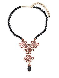 Heidi Daus Jet Chinoise Knot Necklace Black Red