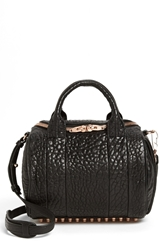 Alexander Wang 'Rockie Rose Gold' Leather Crossbody Satchel Black