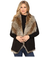 Marc New York Sedona 25 Faux Racoon Vest Black Natural Women's Vest