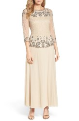 Pisarro Nights Women's Beaded Mesh Gown