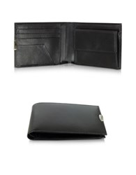 Pineider 1949 Black Leather Men's Wallet W Coin Pocket