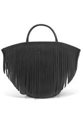 Trademark Fringed Leather Tote Black