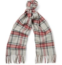 Begg And Co Vale Kelley Checked Lambswool Cashmere Blend Scarf Mushroom