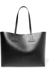 Tom Ford T Textured Leather Tote Black